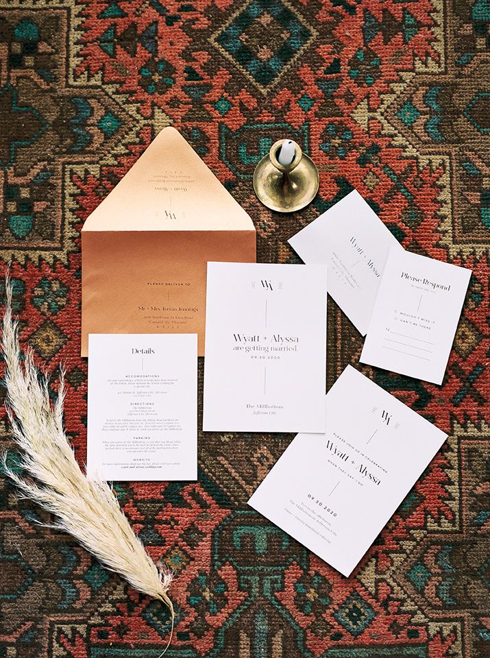 minimalistic, copper, wedding invitation in flatlay