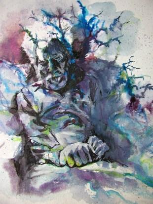 Seven Ages: Ezra Pound. Watercolour by Lesley Rumble