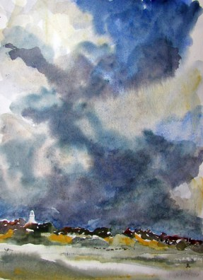 Distant Storm. Watercolour by Lesley Rumble
