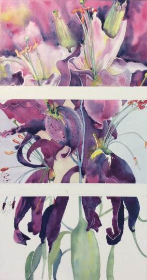 Triptych Oriental Lily Calvados by Mel Collins
