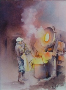 Casting the bell. Watercolour by Alan Noyes