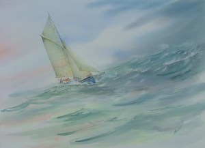 Sea and sky. Watercolour by Alan Noyes