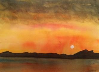 Midnight sun 1. Lofoten Islands - watercolour. Artist Hugh Jenkins