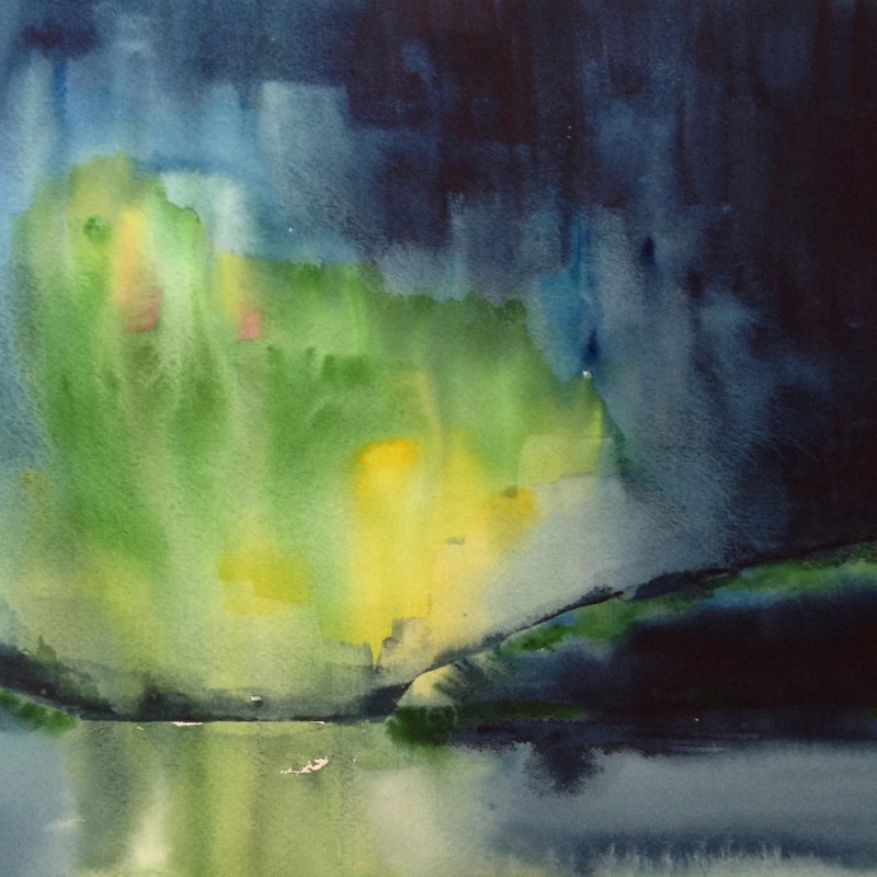 Northern Lights Fauske 2 - watercolour. Artist Hugh Jenkins