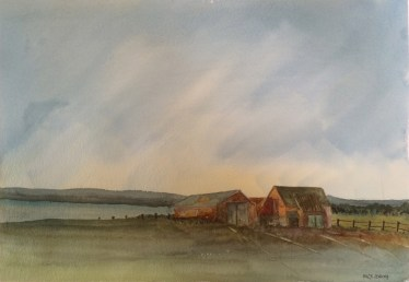 Southwold Barns 1 - watercolour. Artist Hugh Jenkins