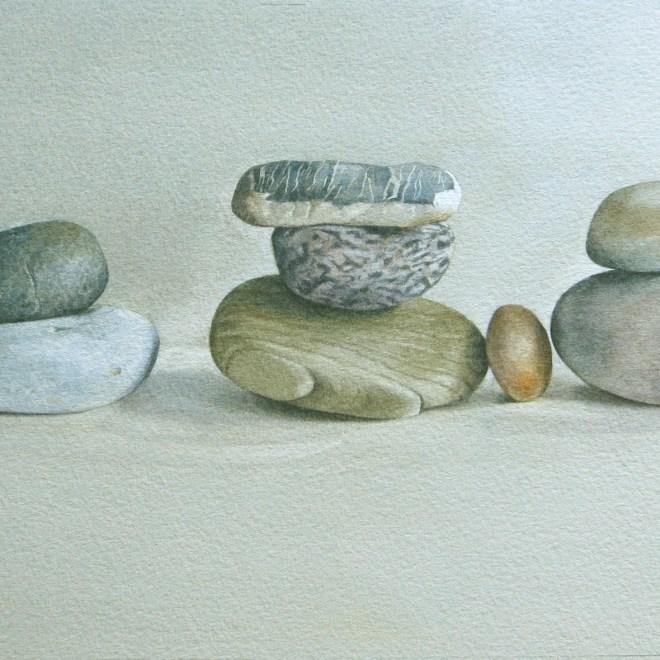 Eight pebbles. Dunes.  Watercolour by Lillias August ©
