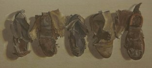 Old boots. Watercolour by Lillias August ©