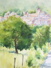 View across the valley to Palalda. Watercolour by Susanne Taylor