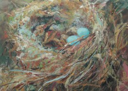 Blue Eggs. Watercolour by Lesley Rumble