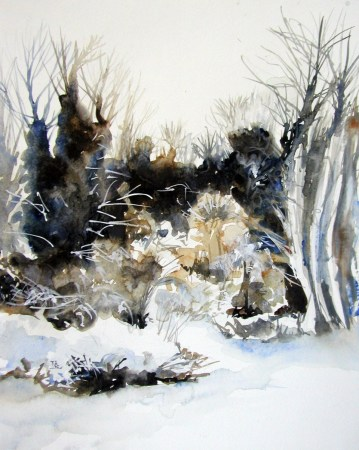 Midwinter Frosts. Watercolour by Lesley Rumble