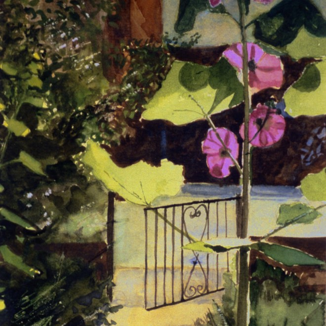Hollyhock Garden. Watercolour by Charles Nightingale