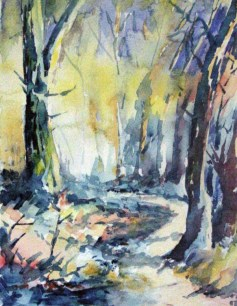 In the Grove at Felixstowe. Watercolour by Charles Nightingale