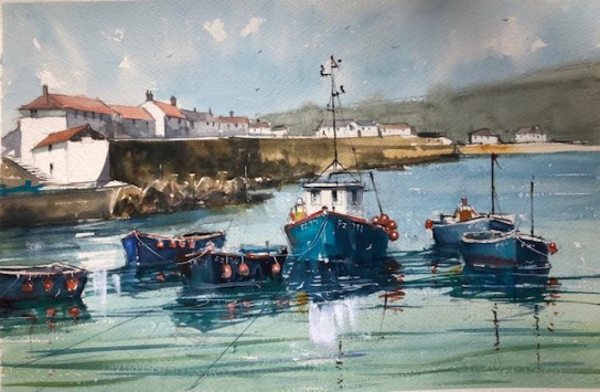 Boats at Coverack, Cornwall by Surinder Beerh