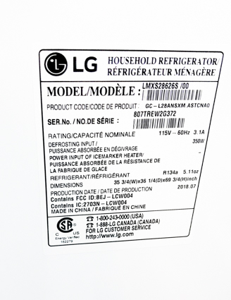 LG refrigerator model number and serial number sticker
