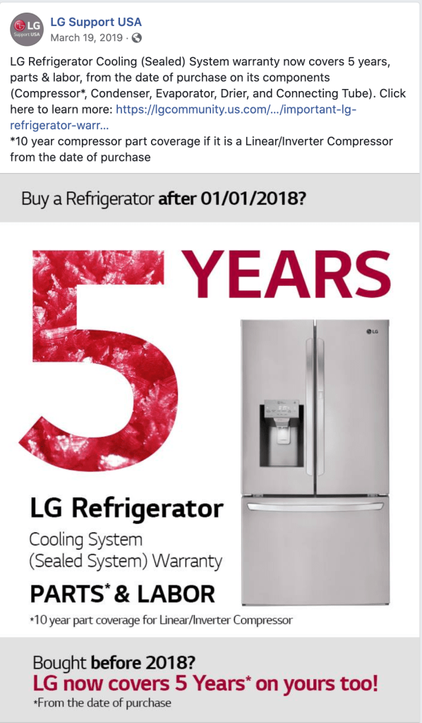 Social media post about Lg 5 year warranty on sealed system refrigerator repair for refrigerators built before 2018