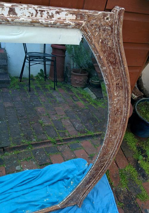 paint stripping mirror - in progress