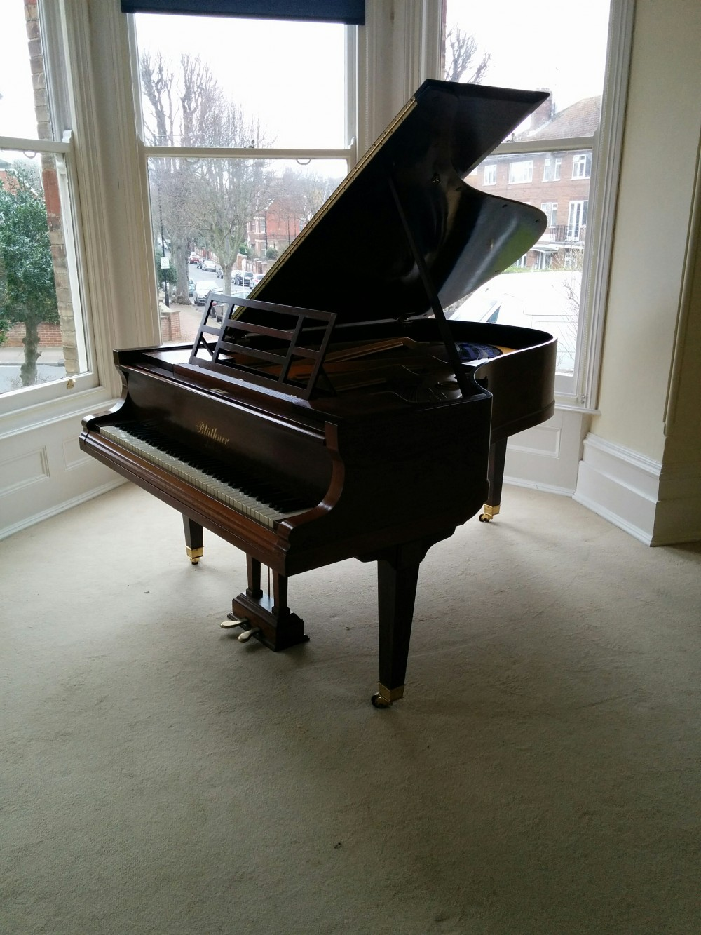 The 'boudoir' grand piano in its new home