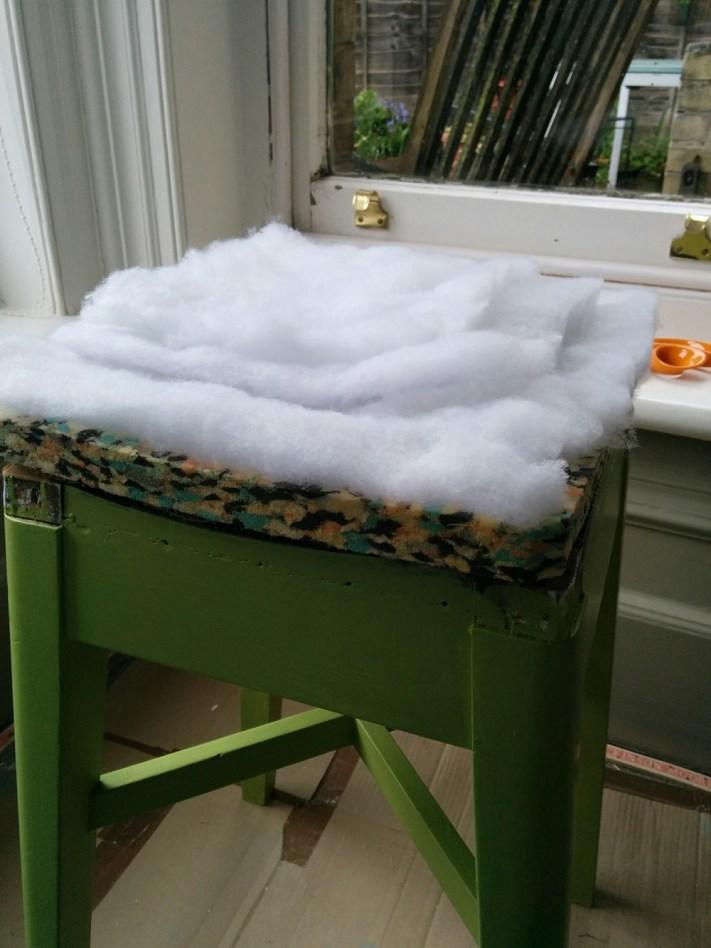 Foam and wadding on stool seat