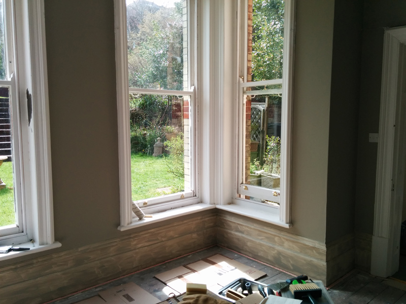 Farrow & Ball Light Grey walls bay window