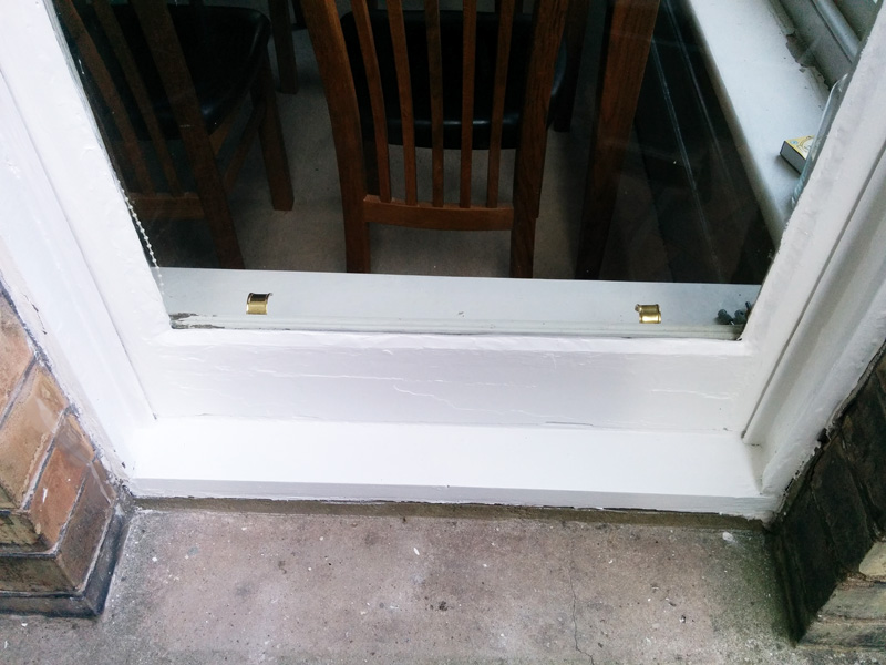 repaired and painted window sill