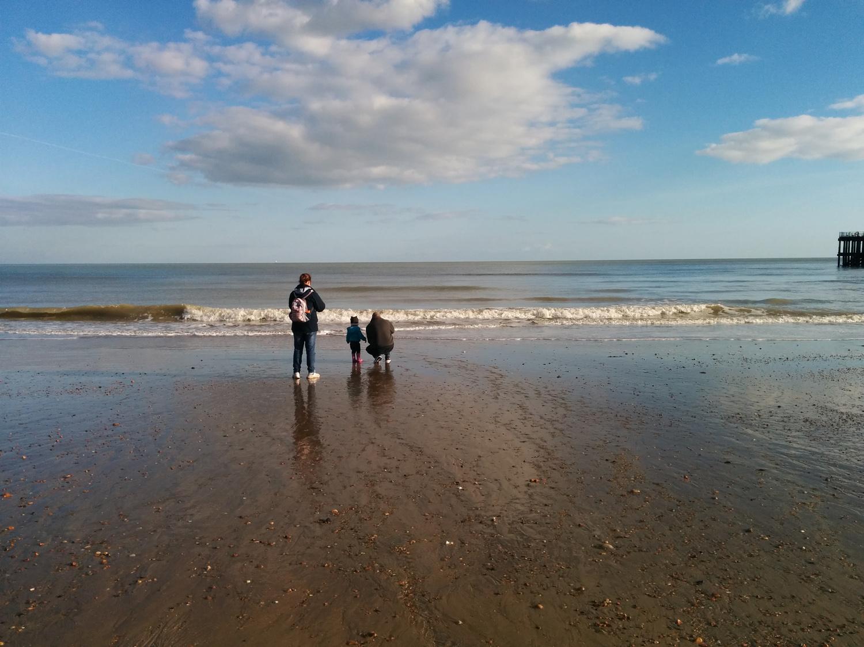 Low tide walk on the beach
