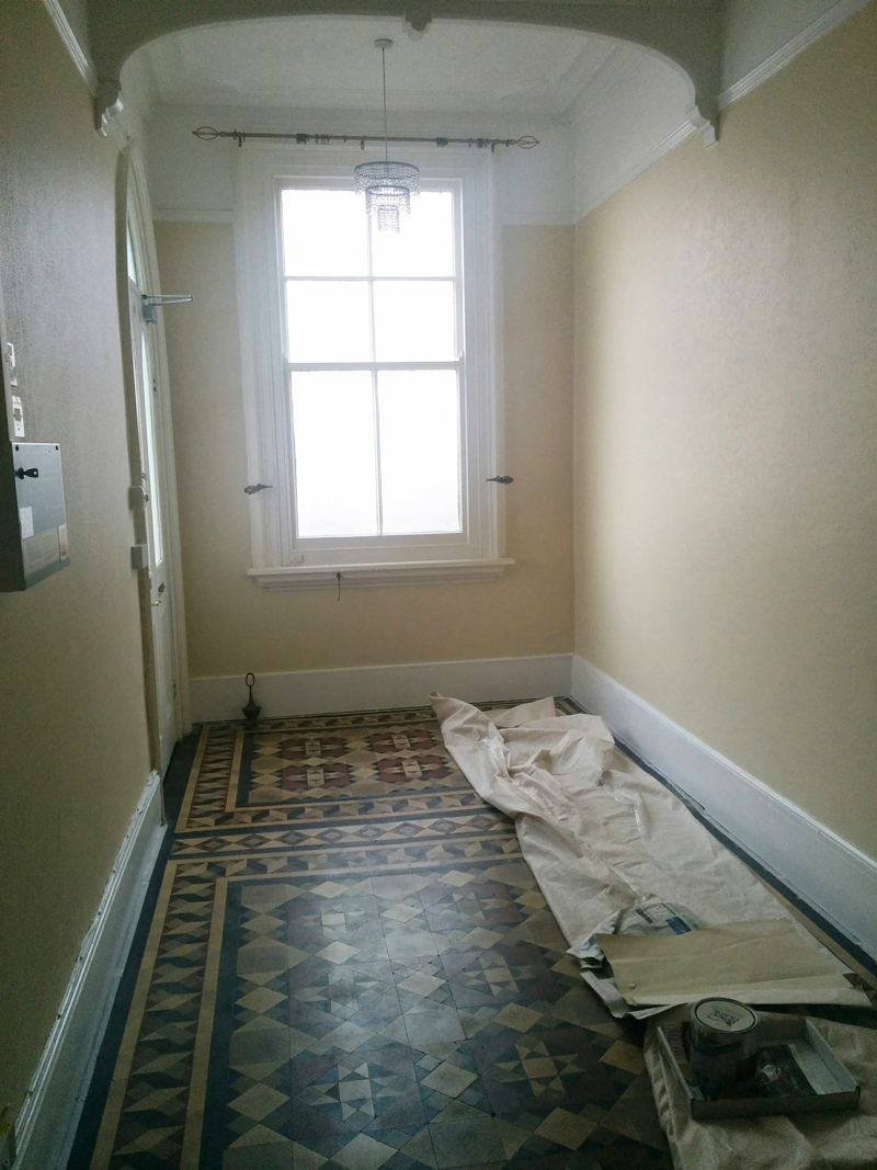 Communal hall - skirting boards painted