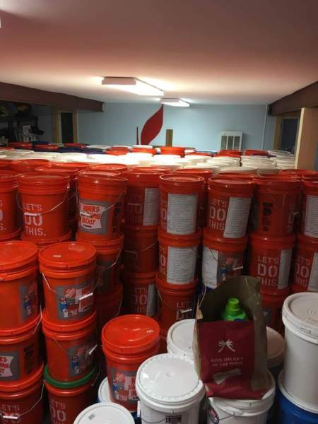 buckets fill room