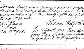 William Whitford to Thomas Whitford (Craven County, 1748)