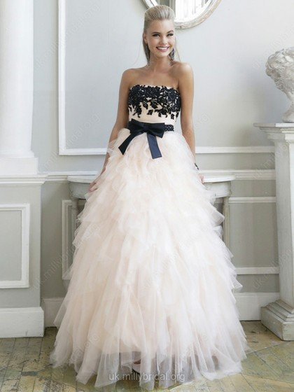 A-line, strapless, tulle formal gown, millybridal