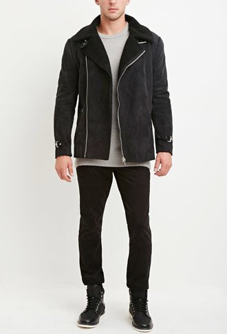 men's fashion, trendy, forever 21, Fau Shearling-Lined Moto Jacket, oh man