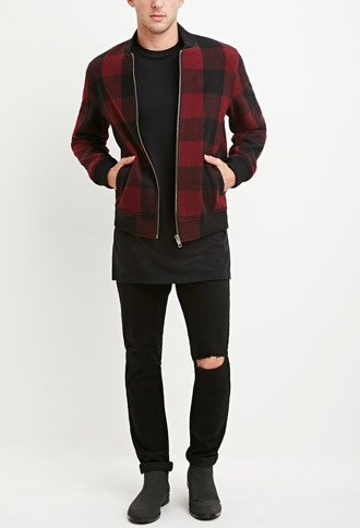 men's fashion, trendy, Buffalo Plaid Bomber Jacket, forever 21, oh man