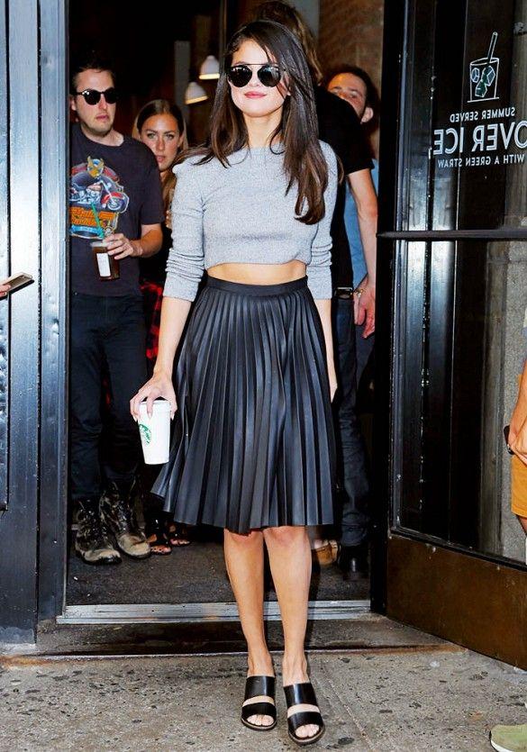 Selena Gomez, midi pleated leather skirt