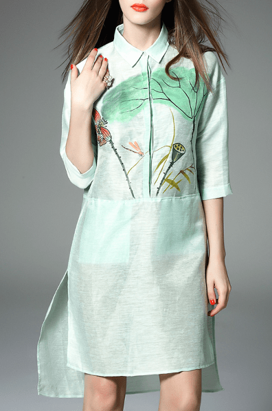 Trendiest Outfits, green, floral, shirt dress, dezzal,