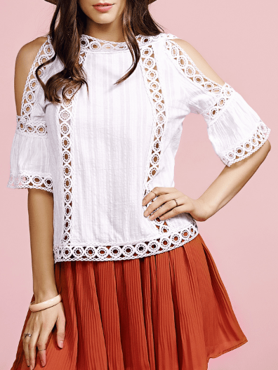 Cut Out Stand Neck Half Sleeve Cold Shoulder T-Shirt