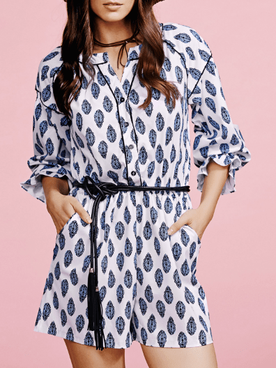 Single-Breasted Printed Stand Neck Long Sleeve Romper