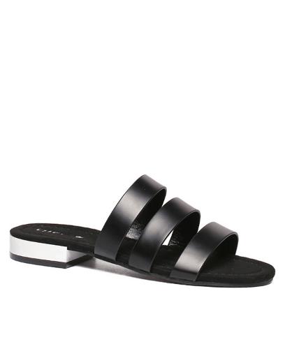 PU Leather Black Flat Heel Slippers