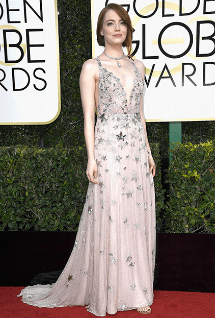 Emma Stone, Emma Stone in Valentino, 2017 Golden Globe Awards Red Carpet 10 Best Dressed Celebs