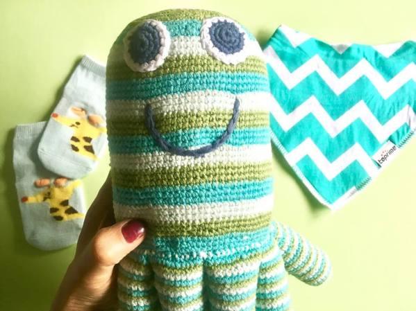 Baby Shower, handmade,knittedtoys, Pebble, Octopus,