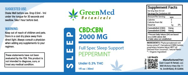 GreenMed Botanicals CBD:CBN 2000mg Tincture Product Label on East Coast Herbalist Shop Page