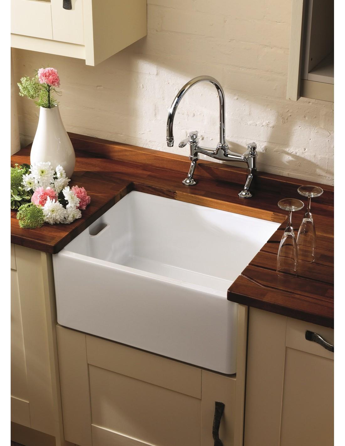 Be600 Shaws Belfast Apron Kitchen Sink White Gloss 60cm Width