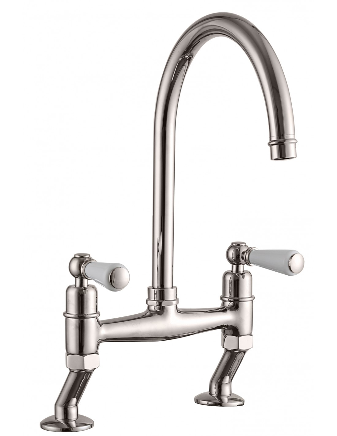 Dephini Twin White Lever Kitchen Tap Polished Chrome Or