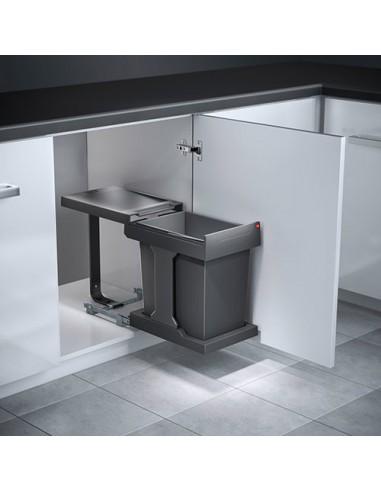 hailo solo under sink kitchen waste bin 300mm 20l slate grey