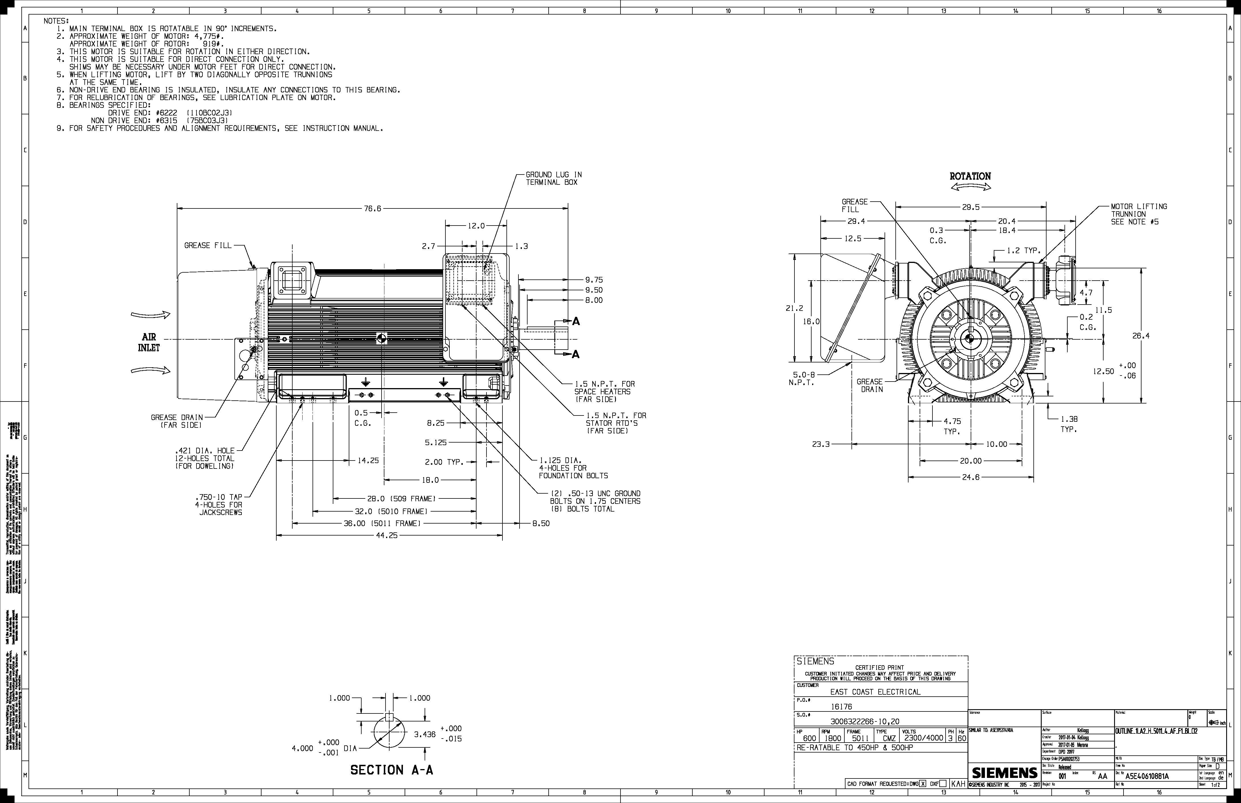500 Hp Rpm Siemens Frame Bbtefc V New 2