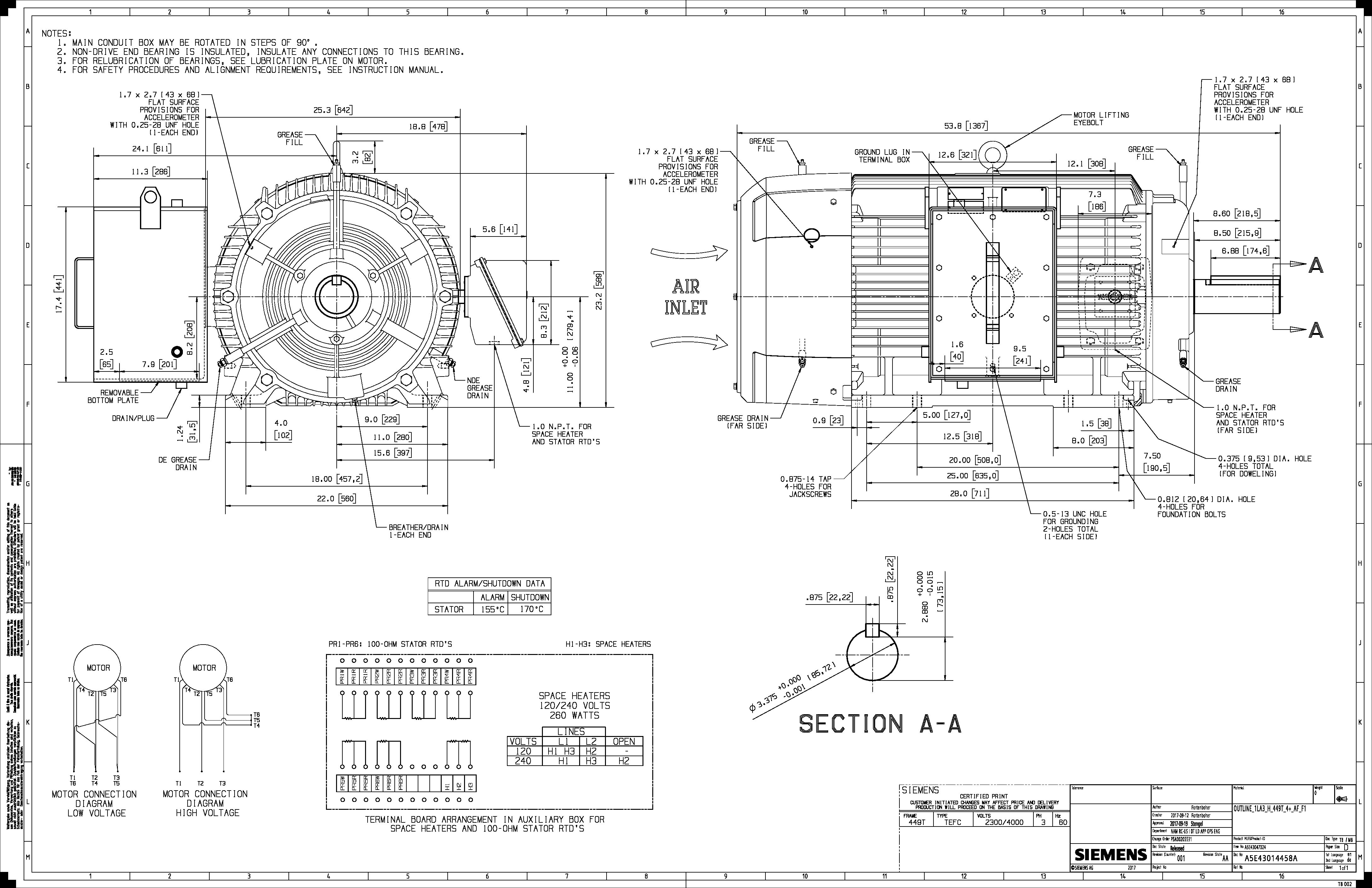 250 Hp Rpm Siemens Frame 449t Bbtefc V New 2