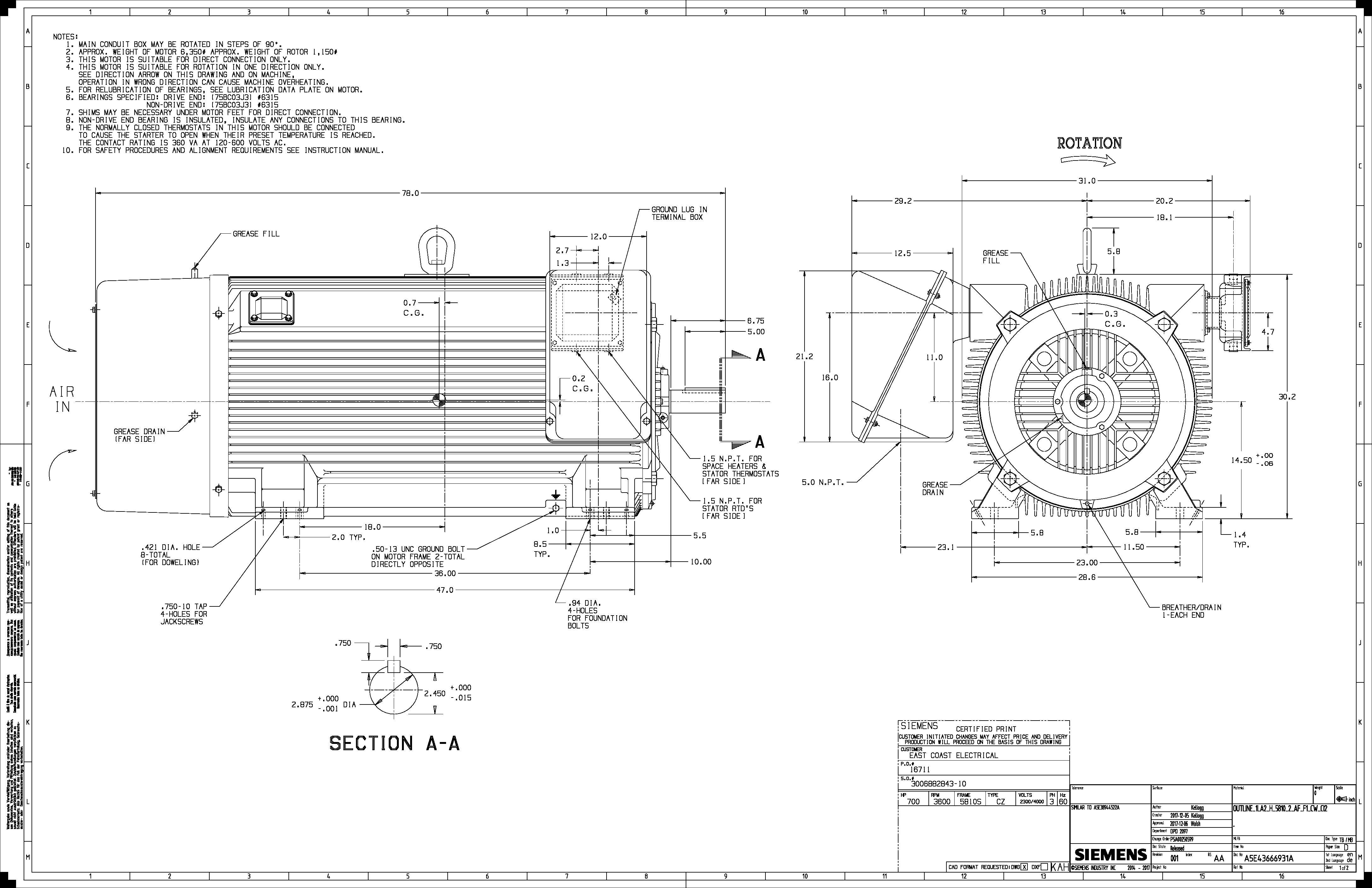 600 Hp Rpm Siemens Frame S Bbtefc V