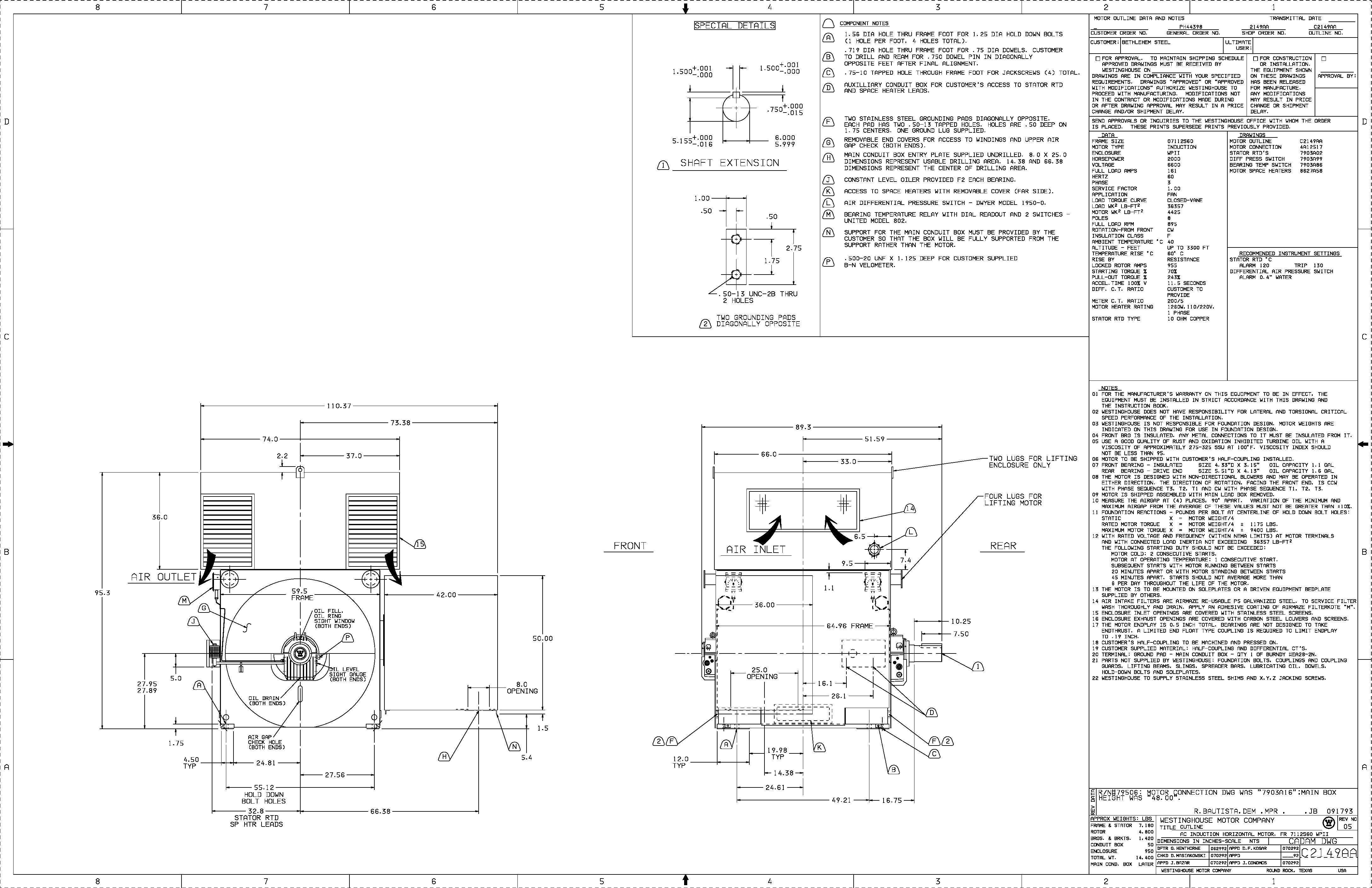 Hp 900 Rpm Wh Frame S60 Sbwpii V