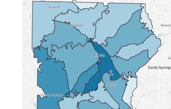 Cobb COVID ZIP code map