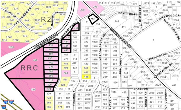Nexus Gardens rezoning map
