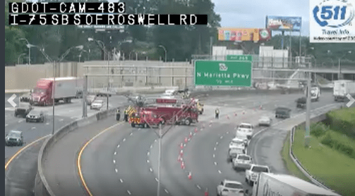 I-75 NB lanes closed Roswell Road