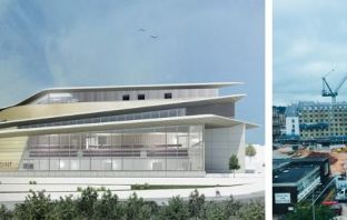 An artist's impression of the new Exeter Leisure Centre - St Sidwell's Point - and a photo of the huge crane in the city centre.